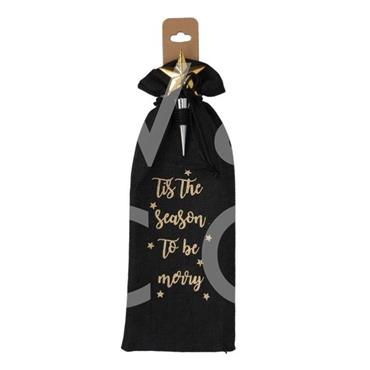 WIDDOP STARRY NIGHTS WINE BAG WITH BOTTLE STOPPER