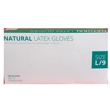 NATURAL LATEX POWDER FREE GLOVES LARGE