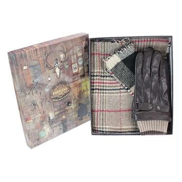 SOMETHING SPECIAL MENS LEATHER GLOVES AND REVERSIBLE SCARF SET
