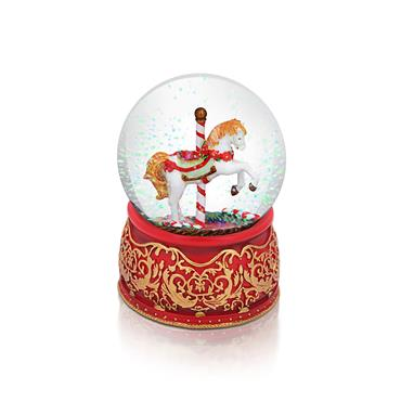 TIPPERARY CRYSTAL CHRISTMAS CAROUSEL SNOWGLOBE 100MM