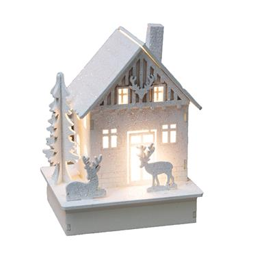 LIGHT UP LED WHITE HOUSE WITH REINDEER 16CM