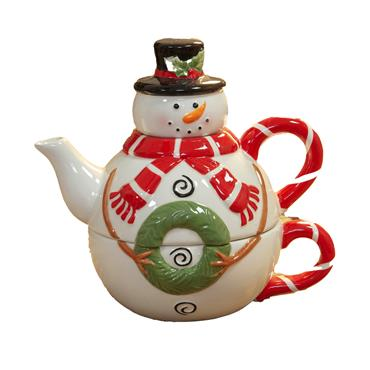 SNOWMAN TEAPOT AND CUP 17.5CM