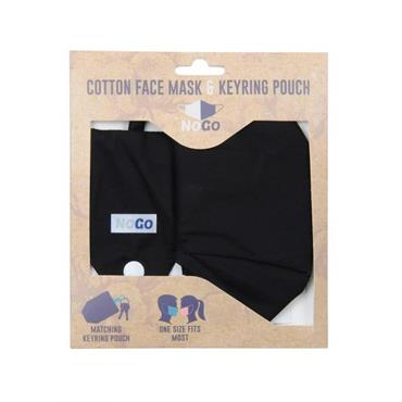 BLACK COTTON FACE COVERING WITH KEYRING POUCH
