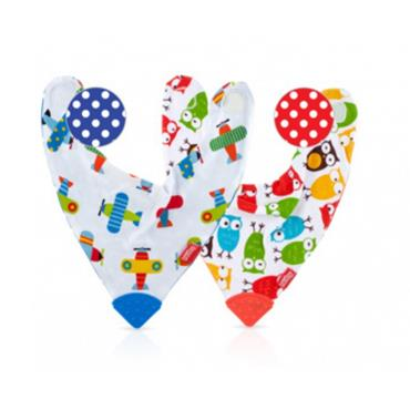 NUBY BANDANA BIB WITH TEETHER TWIN PACK 3 MONTHS +