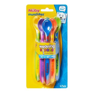 NUBY WEANING SPOONS 6 PACK 4 MONTHS +