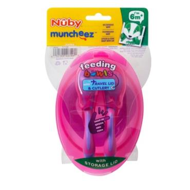 NUBY BOWL WITH LID AND CUTLERY SET 6 MONTHS +