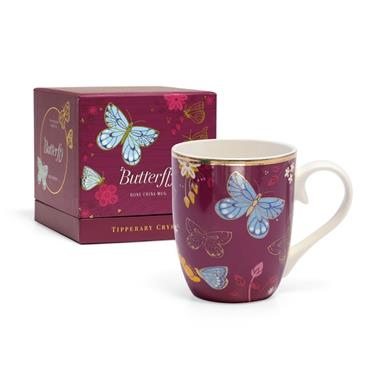 TIPPERARY CRYSTAL BUTTERFLY MUG THE COMMON BLUE