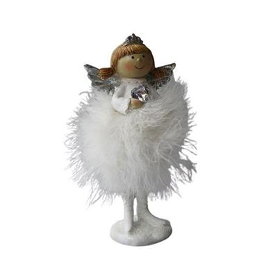 VERANO LARGE STANDING ANGEL WITH WHITE FEATHER SKIRT HOLDING HEART/STAR 23CM