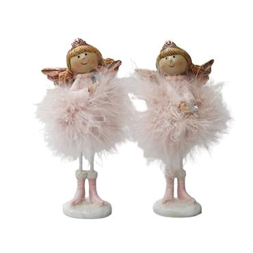 VERANO MEDIUM STANDING ANGEL WITH PINK FEATHER SKIRT HOLDING HEART/STAR 16.5CM