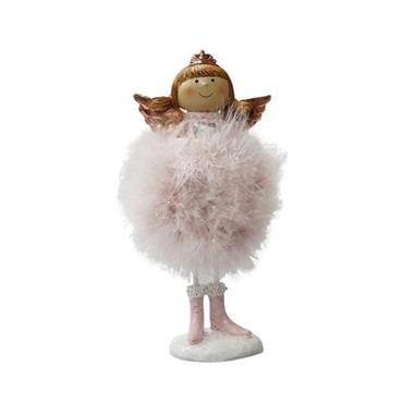 VERANO LARGE STANDING ANGEL WITH PINK FEATHER SKIRT HOLDING HEART/STAR 23CM