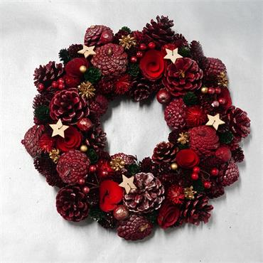VERANO WREATH WITH CONES POPPIES BERRIES AND STARS 34CM