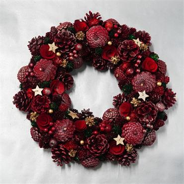 VERANO WREATH WITH CONES POPPIES BERRIES AND STARS 40CM