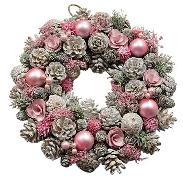 VERANO FROSTED WREATH WITH CONES PINE PINK ROSE AND BAUBLE 26CM