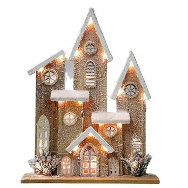 VERANO CHRISTMAS WOODEN LIGHT UP HOUSE 32 X 8 X 40CM