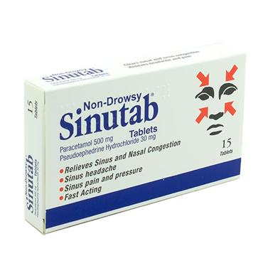 SINUTAB SINUS RELIEF TABLETS 15S