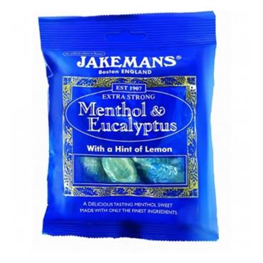 JAKEMANS MENTHOL & EUCALYPTUS EXTRA STRONG SWEETS 100G