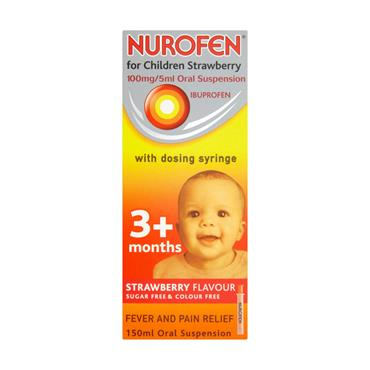 NUROFEN 3+ MONTHS SUGAR FREE STRAWBERRY SYRINGE 150ML