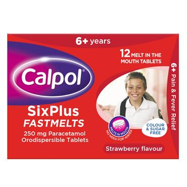 CALPOL SIXPLUS FASTMELTS 250MG TABLETS