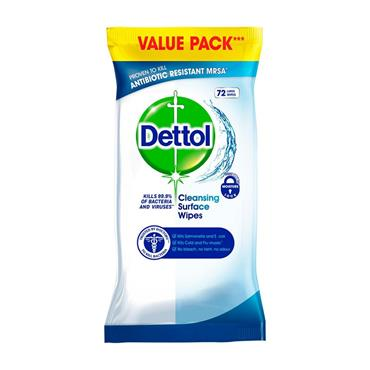 DETTOL CLEANSING SURFACE WIPES 72 LARGE