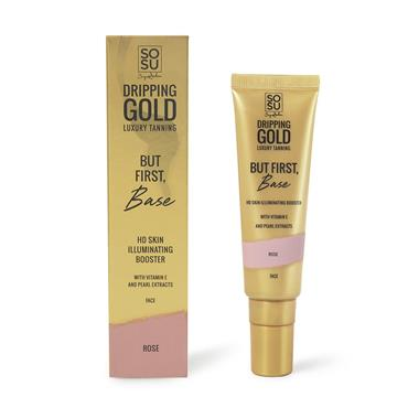 SOSU DRIPPING GOLD LUXURY TANNING BUT FIRST, BASE HD SKIN ILLUMINATING BOOSTER ROSE 30ML