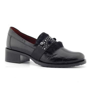 Jose Saenz 2124-Ml Patent Shoe With Fur-BLACK