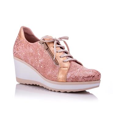 Jose Saenz 4047-Dm-Gl Wedge Zip Lace-Rose