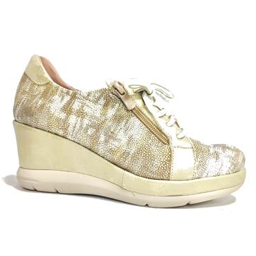 Jose Saenz 4047-X-MD Wedge Lace Zip Shoe-CHAMPAGNE