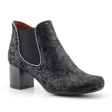 - Jose Saenz 4166-Ad Pattern Heeled Boot - BLACK