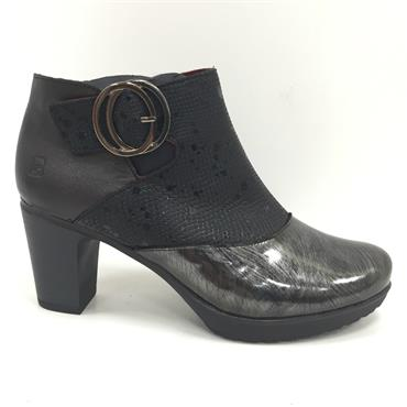 JS TWO TONE BOOT WITH BUCKLE-BLACK