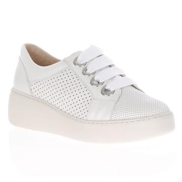 Wonders A-8351 Lace Wedge Shoe-White
