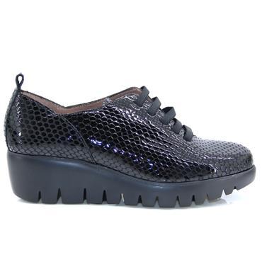Wonders Bamba C33225 Slip On Wedge Shoe-Black Pat Lea