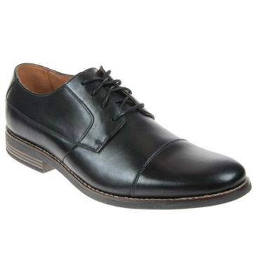 Clarks Becken Cap Shoe-Black Leather