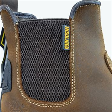 Children Buffalo Pull On Safety Boot-BROWN