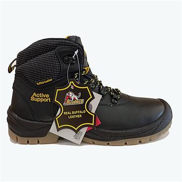 Buffalo Lace Safety Boot-BLACK