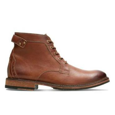 CLARKDALE BUD CLARKS LACE BOOT - DARK TAN
