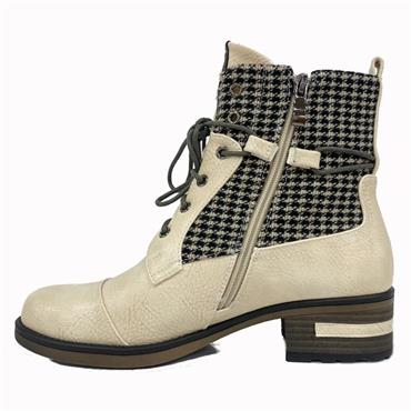 Redz Cong Check Ankle Boot-BEIGE