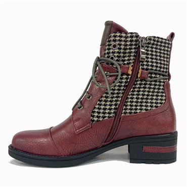 Redz Cong Check Ankle Boot-WINE