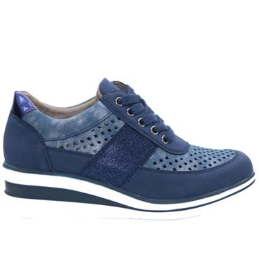 Redz Dingle Casual Wedge Lace Shoe-NAVY