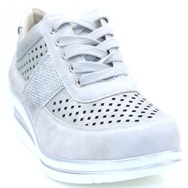 Redz Dingle Casual Wedge Lace Shoe-Silver