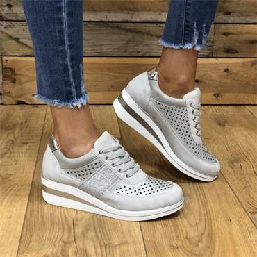 Redz Dingle Casual Wedge Lace Shoe-Silver