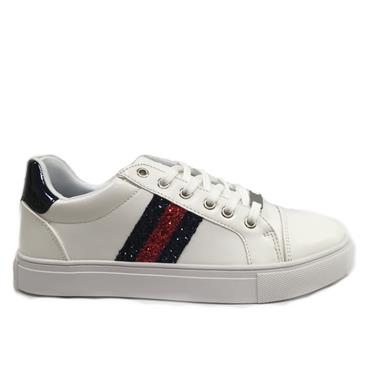 Drilleys Glitter Casual Shoe-White