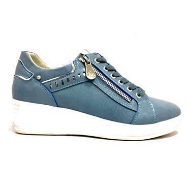 Zanni Kara Wedge Lace Shoe With Zip-BLUE