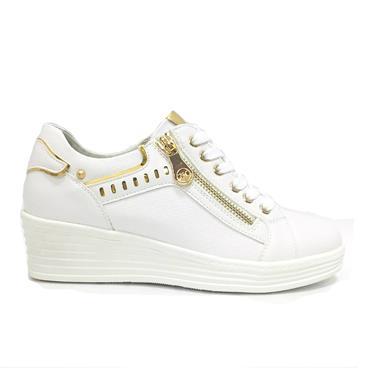 Zanni Kara Wedge Lace Shoe With Zip-White