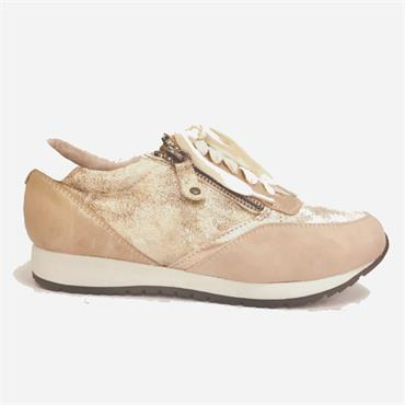 Redz Kristin Lace Zip Casual Shoe-NUDE