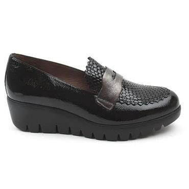 Wonders Lack C33223 Wedge Slip On Shoe-Black Pat Lea