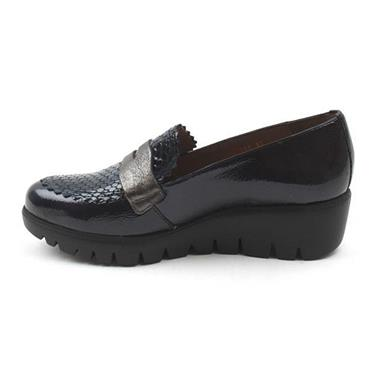 Wonders Lack C33223 Wedge Slip On Shoe-Navy Patent