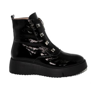 Wonders A9301 Nephin Studded Zip Boot-BLACK PATENT