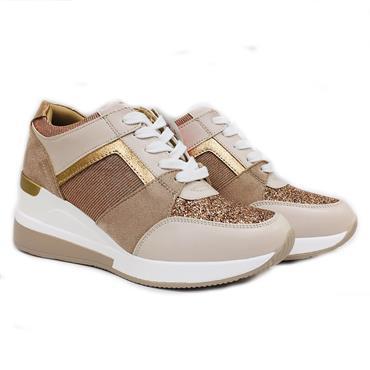 Redz Palma Casual Wedge Shoe-BEIGE