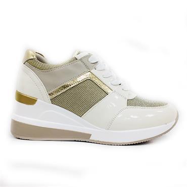 Redz Palma Casual Wedge Shoe-White