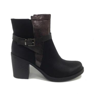 Redz X1235 Block Heel Ankle Boot-BLACK